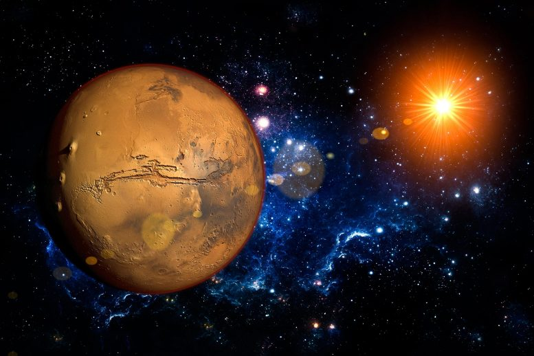 Mars Planet History Illustration