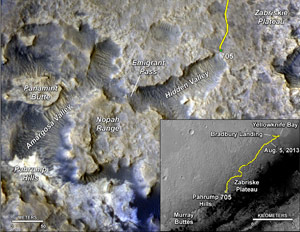 Mars Rover Nears Mountain Base Outcrop