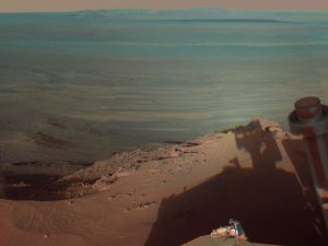 Mars Rover Opportunity catches its own late-afternoon shadow in Endeavour Crater on Mars