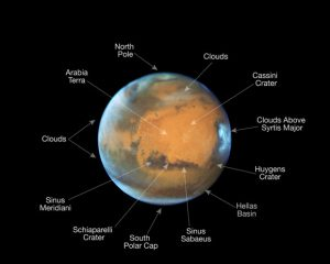 Mars in Opposition 2016 Hubble Image Annotated