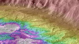 Martian Crater Water Topographic Map