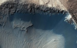 Martian Landslide Landscape Shaped by Ice
