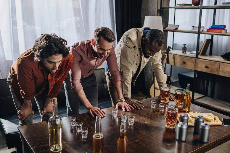 Men Partying With Booze