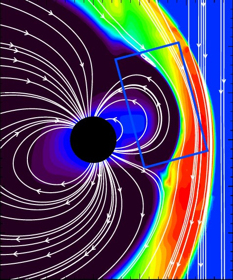 Meridional Cut From Advanced 3D Magnetosphere Simulation