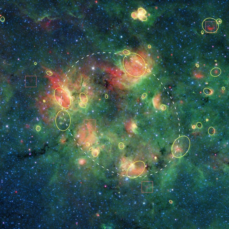 Milky Way Bubbles Annotated