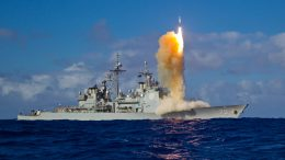 Missile Launch From Guided-Missile Cruiser USS Lake Erie