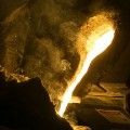 Molten steel is poured in the Missouri S&T foundry in McNutt Hall.