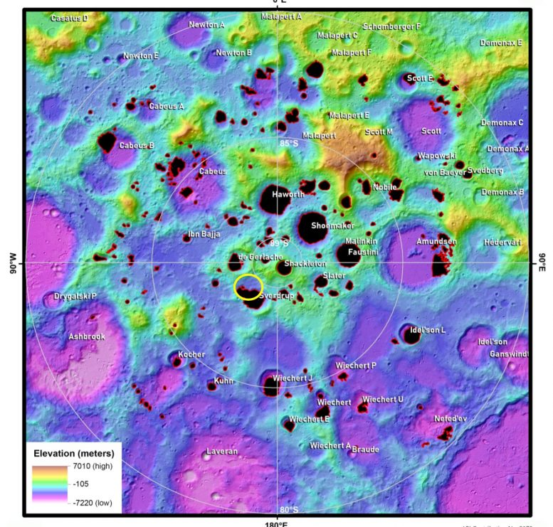 Moon's South Pole Topographic Map