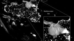 Mount Etna Nighttime Glow Annotated