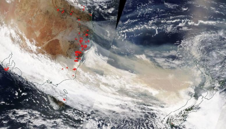 NASA Aqua MODIS Satellite Image Australia Fire