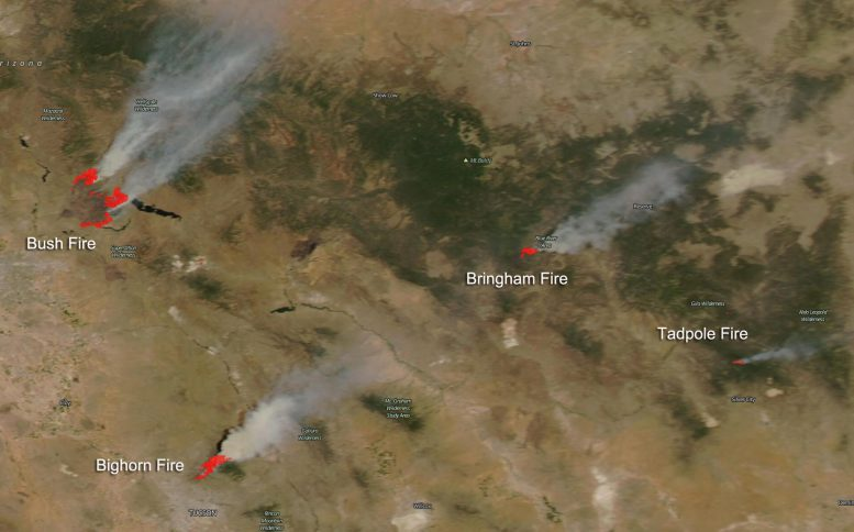 NASA Aqua Satellite Four Large Fires