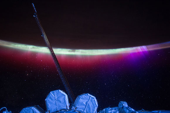 NASA Astronaut Scott Kelly Views Aurora's Colorful Veil Over Earth