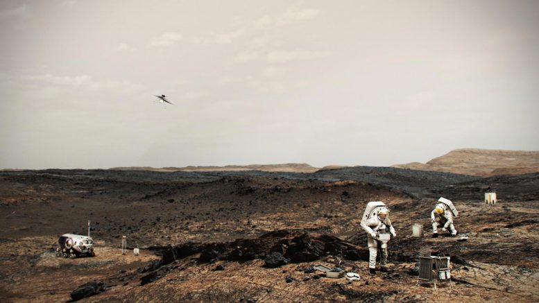 NASA Astronauts on Mars With Helicopter