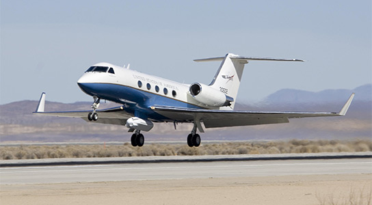 NASA's Gulfstream-III with UAV synthetic aperture radar pod takes off from Edwards Air Force Base
