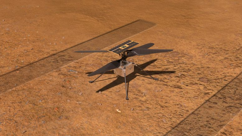 NASA wit helicopter on Mars illustration