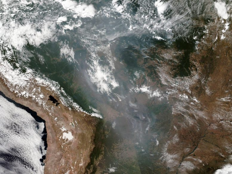 NASA Satellite Image of Amazon Fire