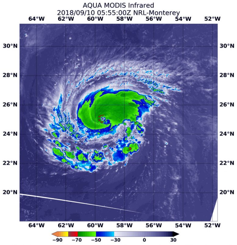 NASA Satellites Show Hurricane Florence Strengthening