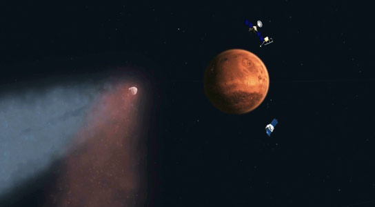 NASA Spacecraft Reveal Comet Flyby Effects on Martian Atmosphere