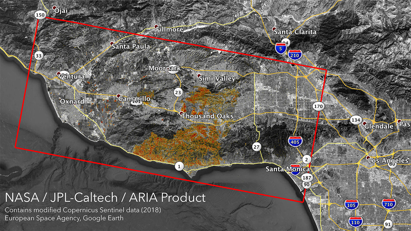 NASA Satellites Map California Wildfires from Space on large map of california, lightning strike map california, kern county california,