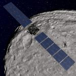 NASA's Dawn spacecraft orbiting the giant asteroid Vesta