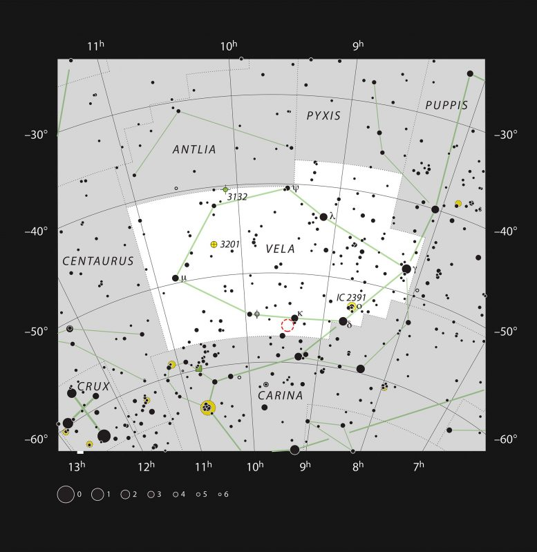 NGC 2899 Star Chart Vela Constellation