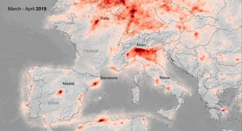 NO2 Concentrations Over Europe March April 2019