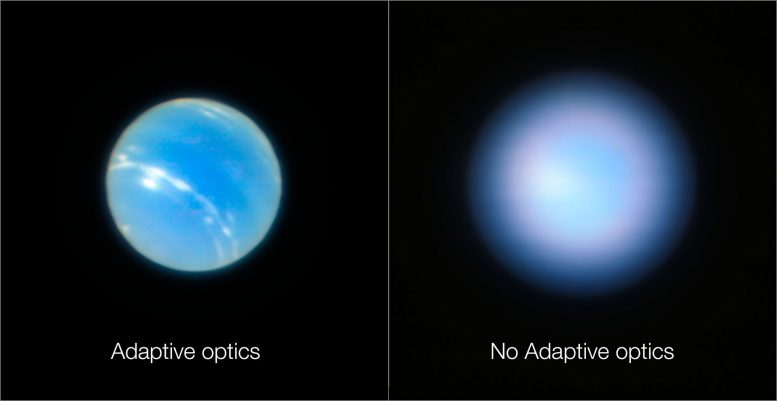 Neptune With and Without Adaptive Optics
