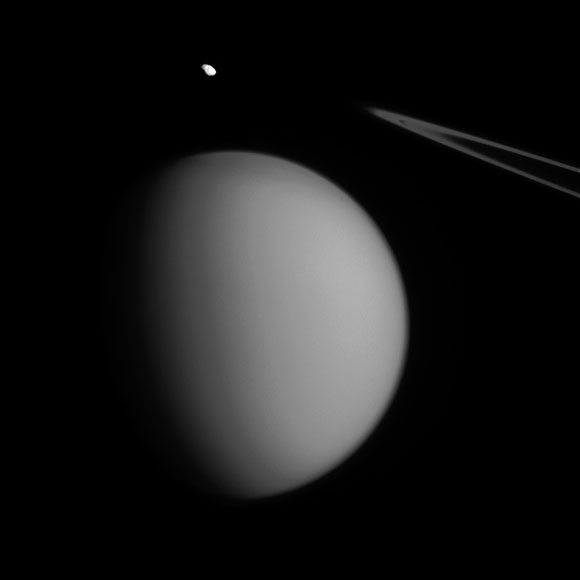 New Cassini Image of Pandora and Titan