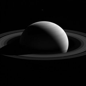 New Cassini Image of Tethys Above Saturn