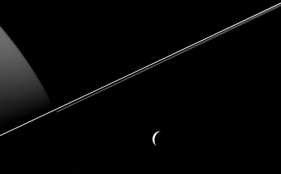 New Cassini Image of Tethys and Saturn's Rings