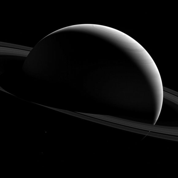 New Cassini Image of the Night Sides of Saturn and Tethys