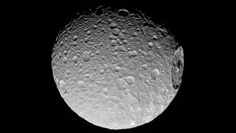 New Cassini View of Mimas' Gigantic Crater
