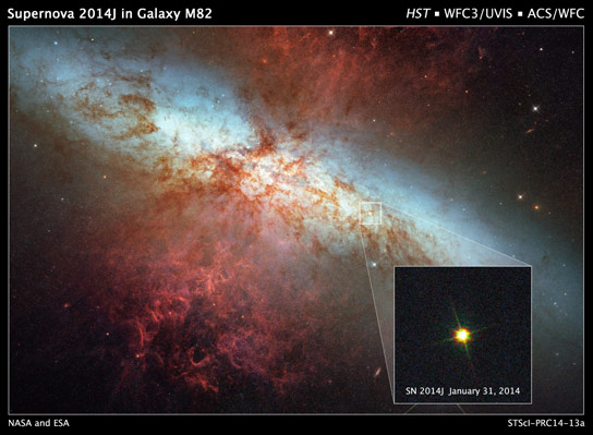 New Hubble Image of Supernova in Nearby Galaxy M82