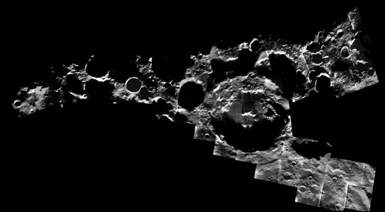 New Mosiac Image of Craters at the Moons South Pole