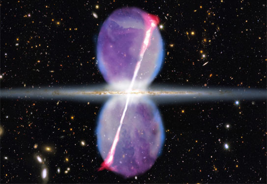 Newly discovered gamma-ray jets extend for 27,000 light-years above and below the galactic plane