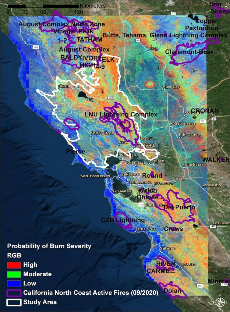 Northern CA Wildfire Burn Severity Probability Map