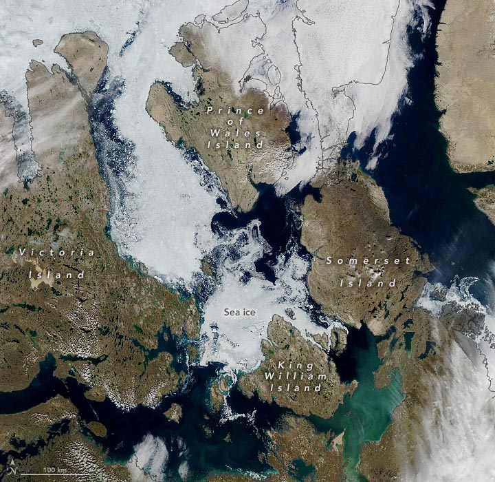 Northwest Passage Southern Route August 2021 Annotated