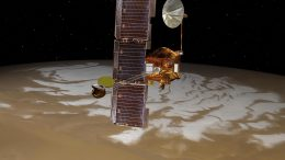 Odyssey Spacecraft Over Mars' South Pole