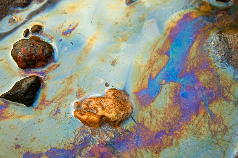 Oil Patches on Water