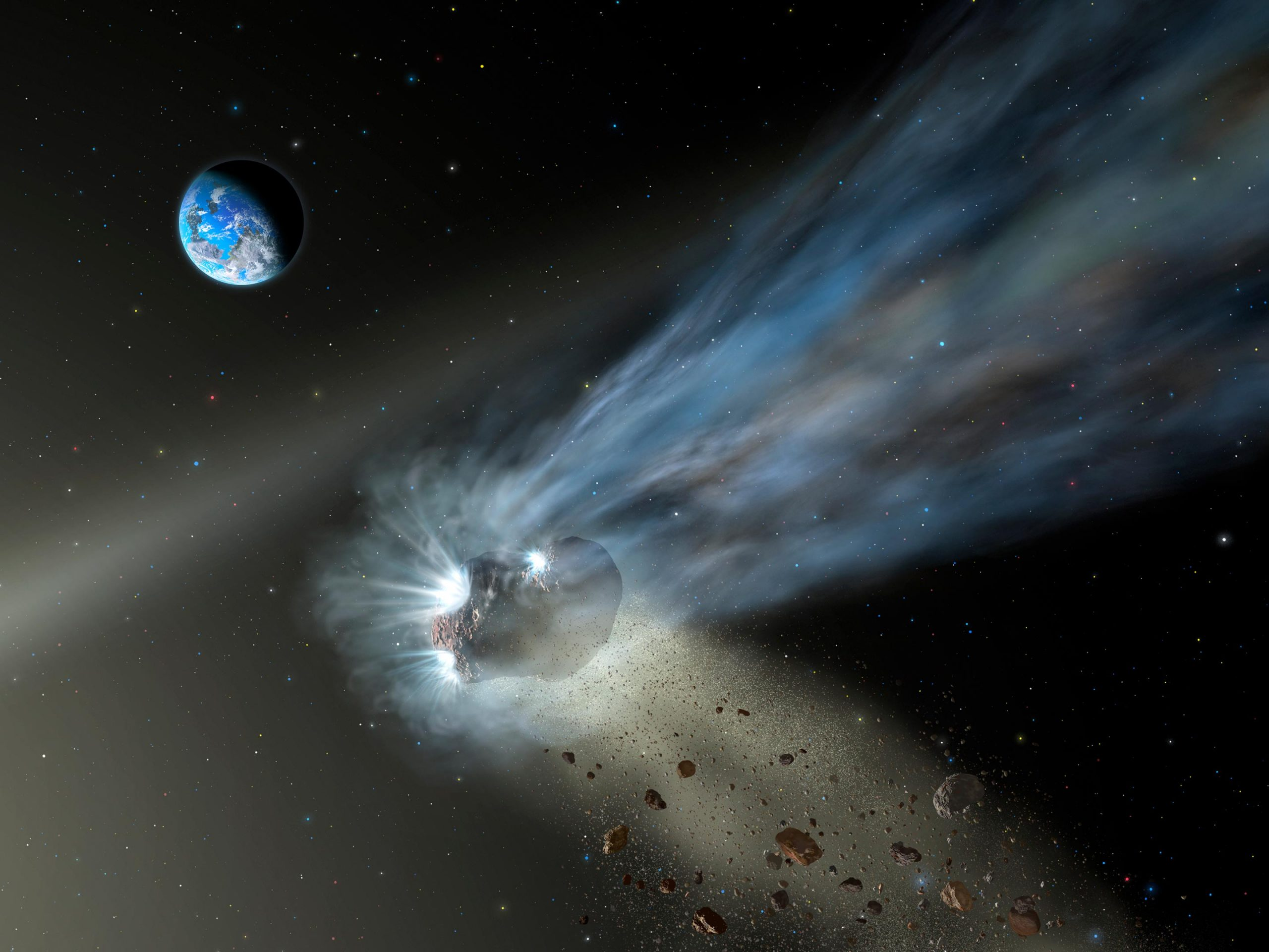 Comet Catalina's Glowing Tail Indicates Comets Delivered Carbon to Rocky Planets - SciTechDaily