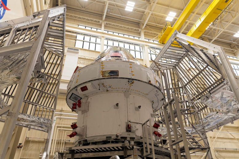 Orion Spacecraft Encaged