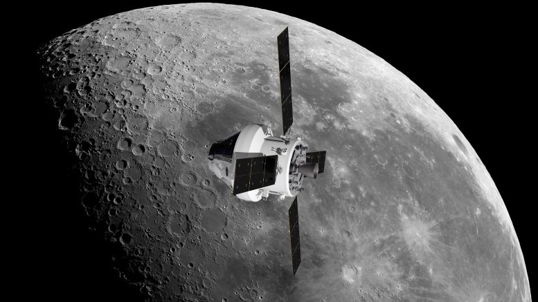 Orion and European Service Module Orbiting Moon