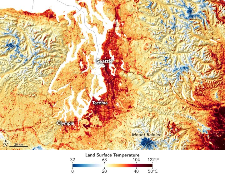 Pacific Northwest Land Surface Temperature June 2021 Annotated