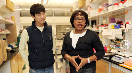 Paula Hammond with postdoc Jinkee Hong