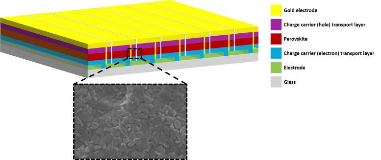 Perovskite Solar module and surface of the active layer