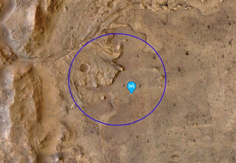 Perseverance Mars Rover First Sample Location