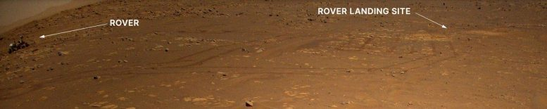 Perseverance Mars Rover Seen by Ingenuity Mars Helicopter