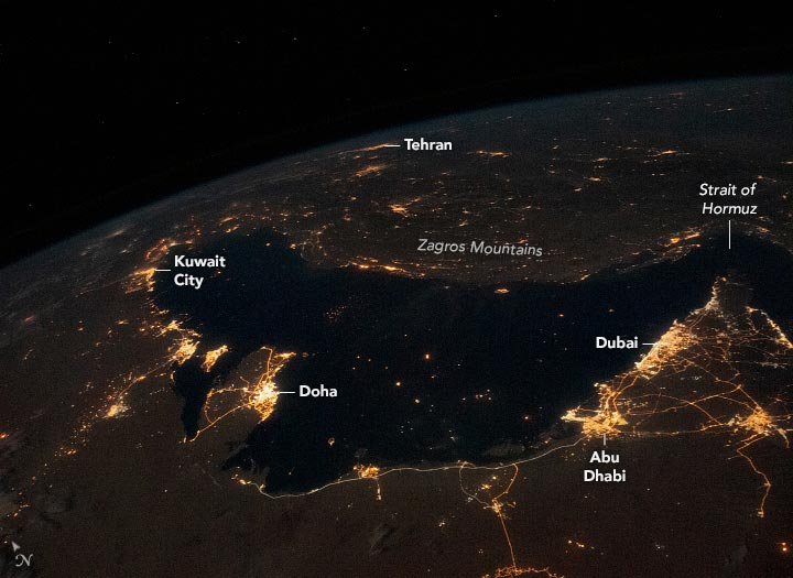 Persian Gulf at Night Annotated