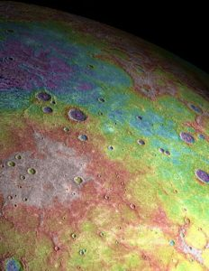 Perspective view of ancient volcanic plains in the northern high-latitudes of Mercury