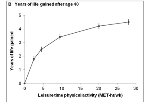 Physical activity and gain in life expectancy